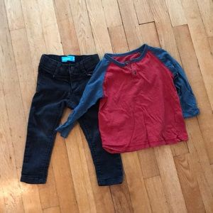 2T Lot Skinny Jeans & Raglan Sleeve Shirt